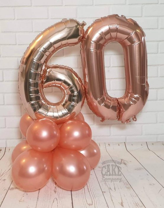 rose gold balloon table decoration for 60th birthday - tamworth
