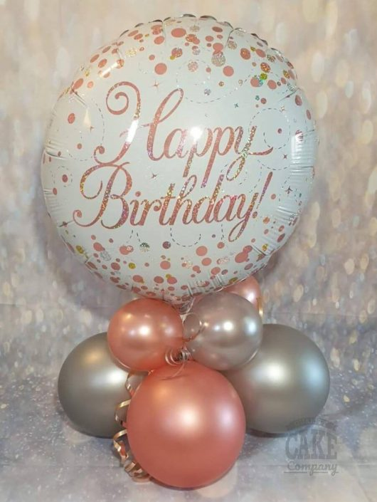 rose gold happy birthday balloon table display - tamworth