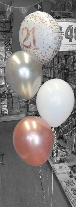 mixed bunch of foil and latex balloons in rose gold for 21st birthday - tamworth
