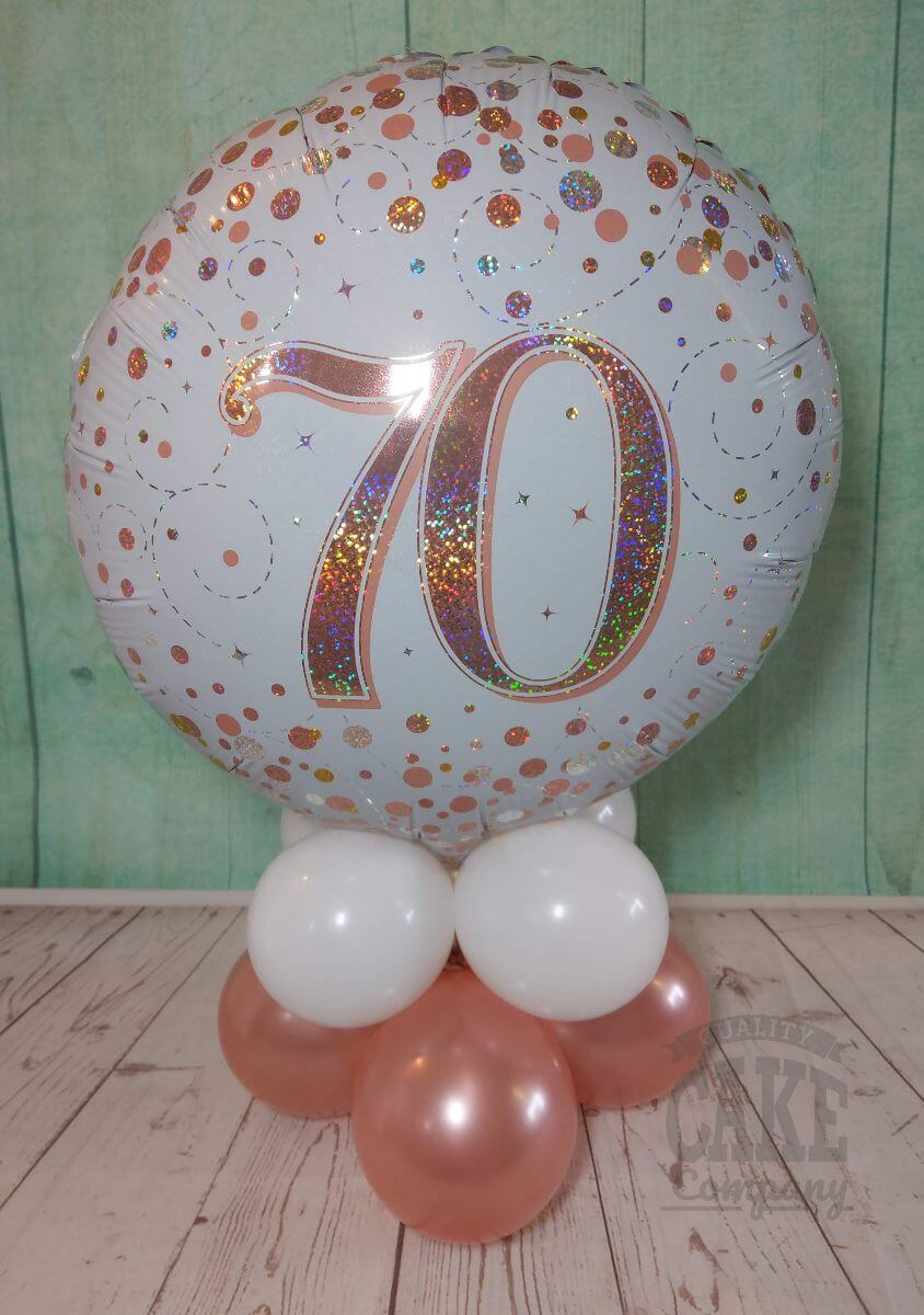 rose gold 70th birthday balloon table decoration - tamworth