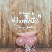 personalised bubble balloon pink feathers - tamworth