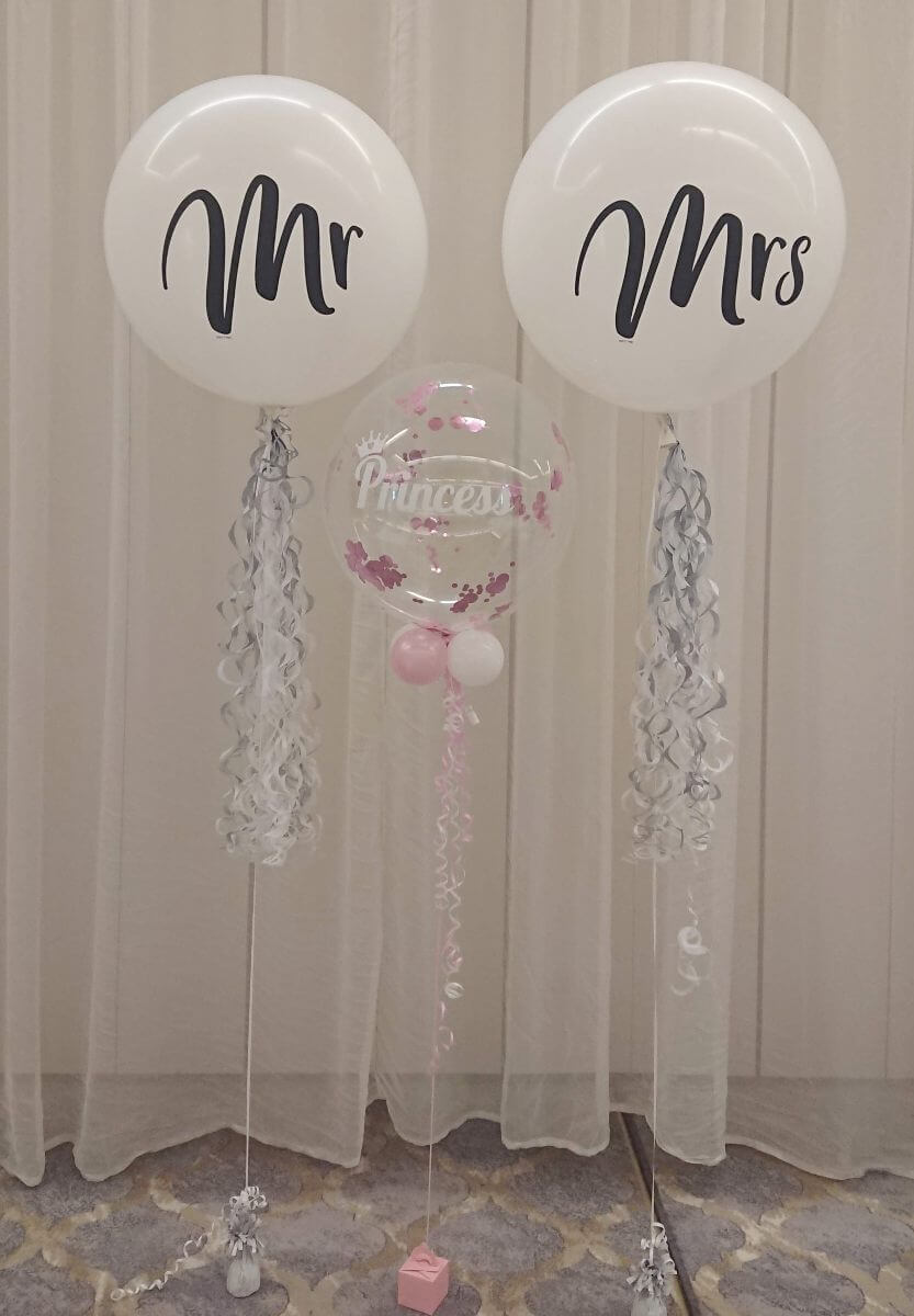 Mr & Mrs large latex helium balloons and personalised confetti bubble balloon