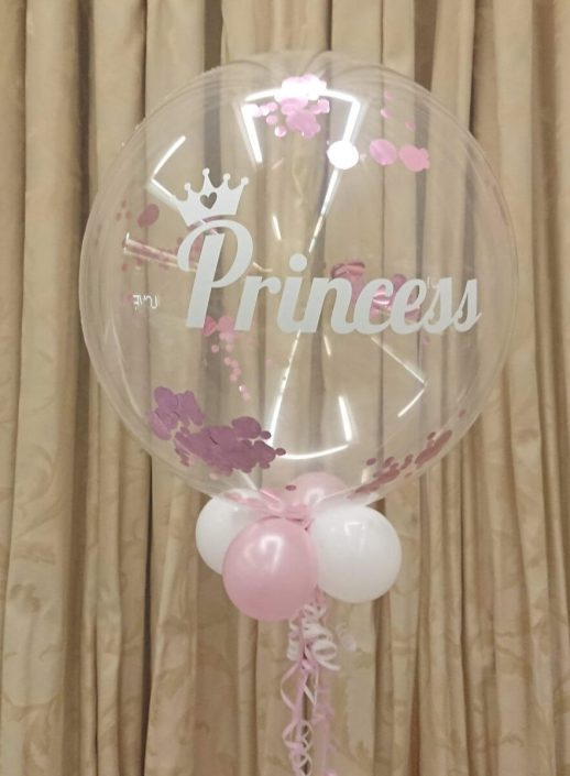 Princess bubble balloon with confetti - tamworth