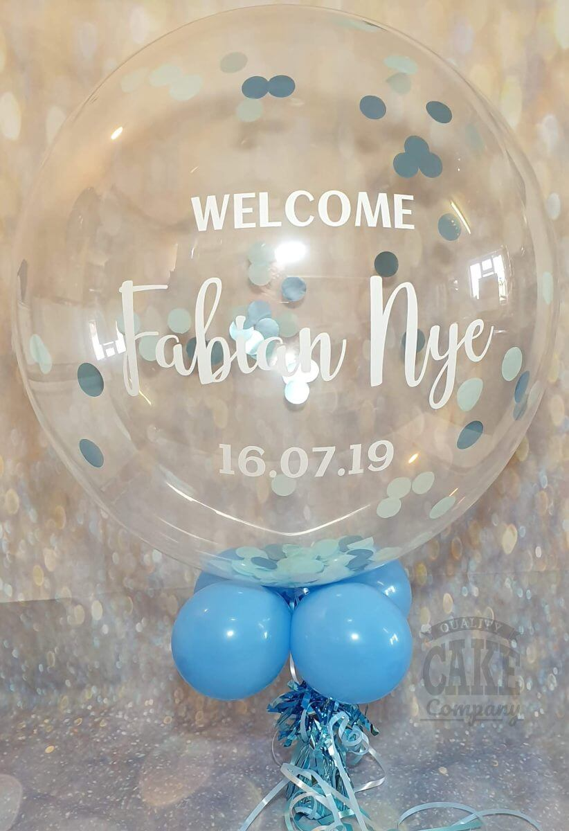 personalised confetti balloon new baby - tamworth