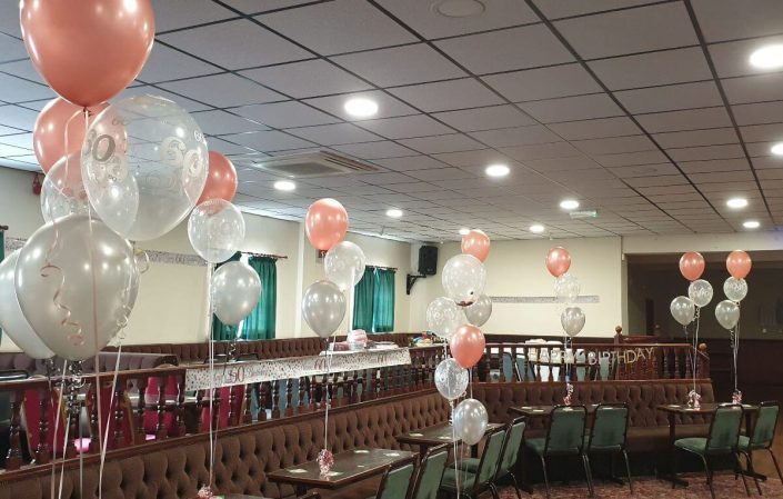 rose gold balloon bunches for a large party - tamworth