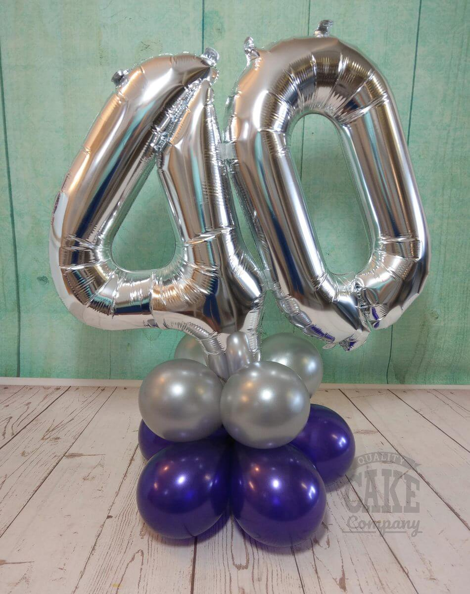 40th birthday purple and silver balloon table decoration - tamworth