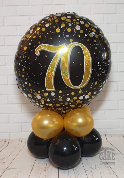 70th birthday black and gold balloon table display - tamworth