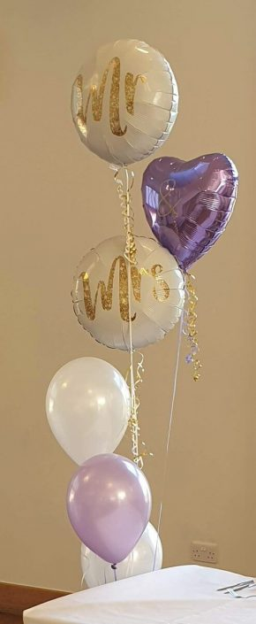 Mr & Mrs wedding balloons matching colour scheme purples - tamworth