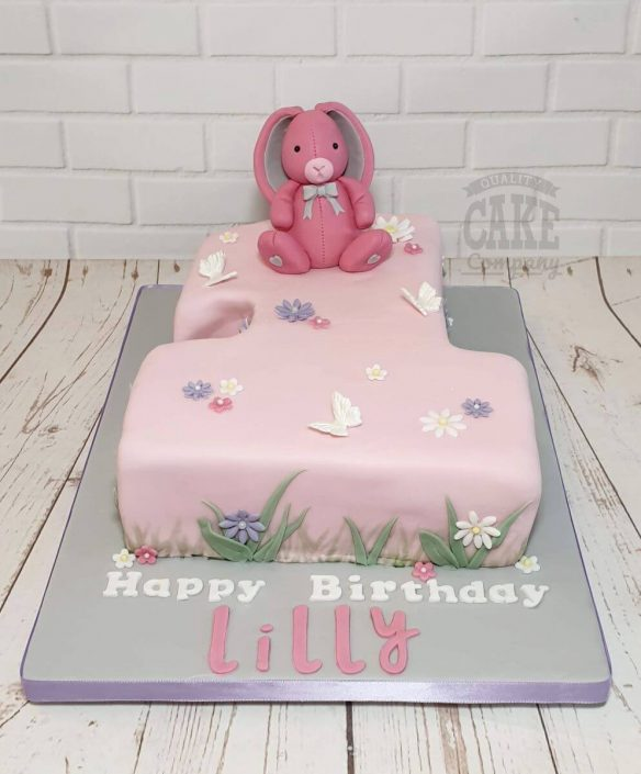 cute pink bunny on number 1 shaped cake - tamworth