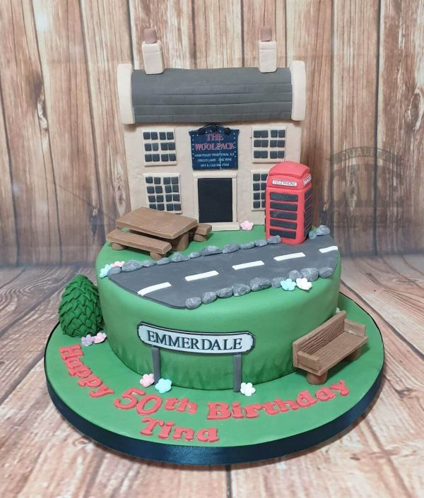 Emmerdal theme woolpack birthday cake 50th birthday - tamworth