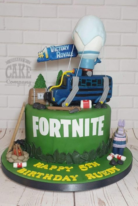 Fortnite theme cake with model battle bus on top - tamworth