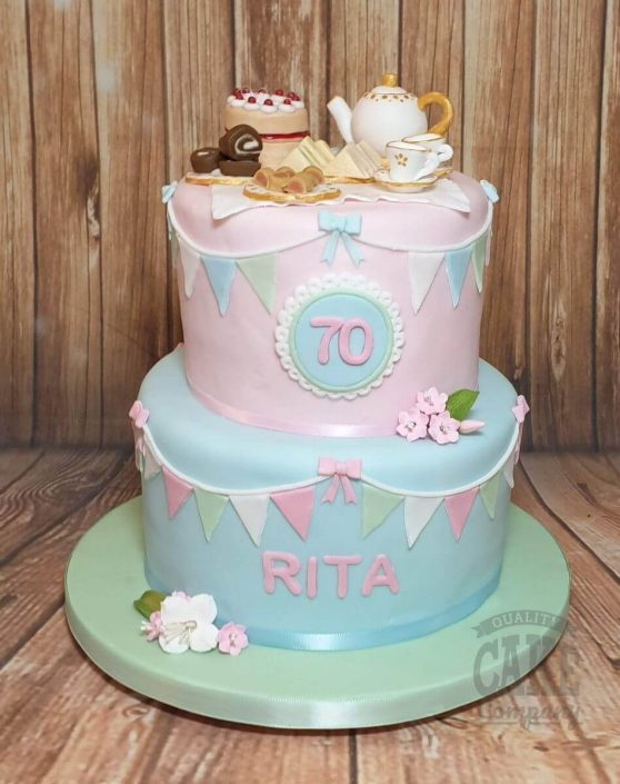 two tier afternoon tea themed 70th birthday cake - Tamworth