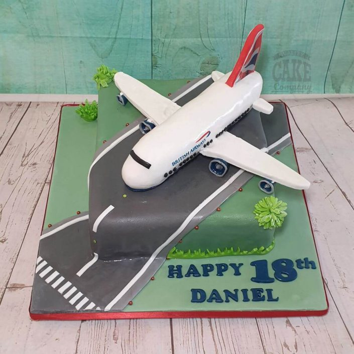 model areoplane on a runway novelty cake - tamworth
