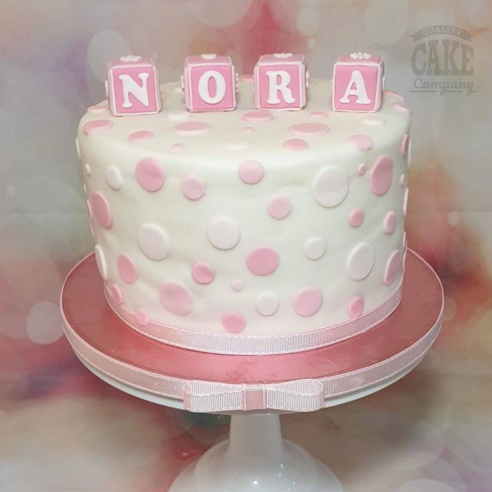 cute baby shower cake with polka dots and blocks - tamworth