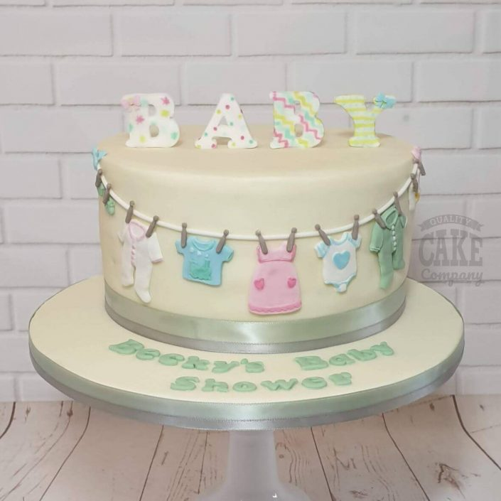neutral baby shower cake - tamworth west midlands