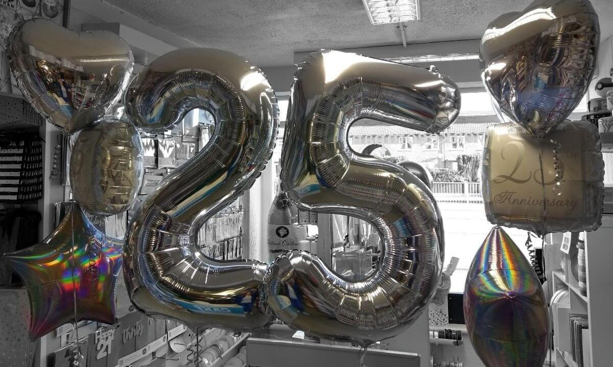 25th silver anniversary giant number balloons - tamworth