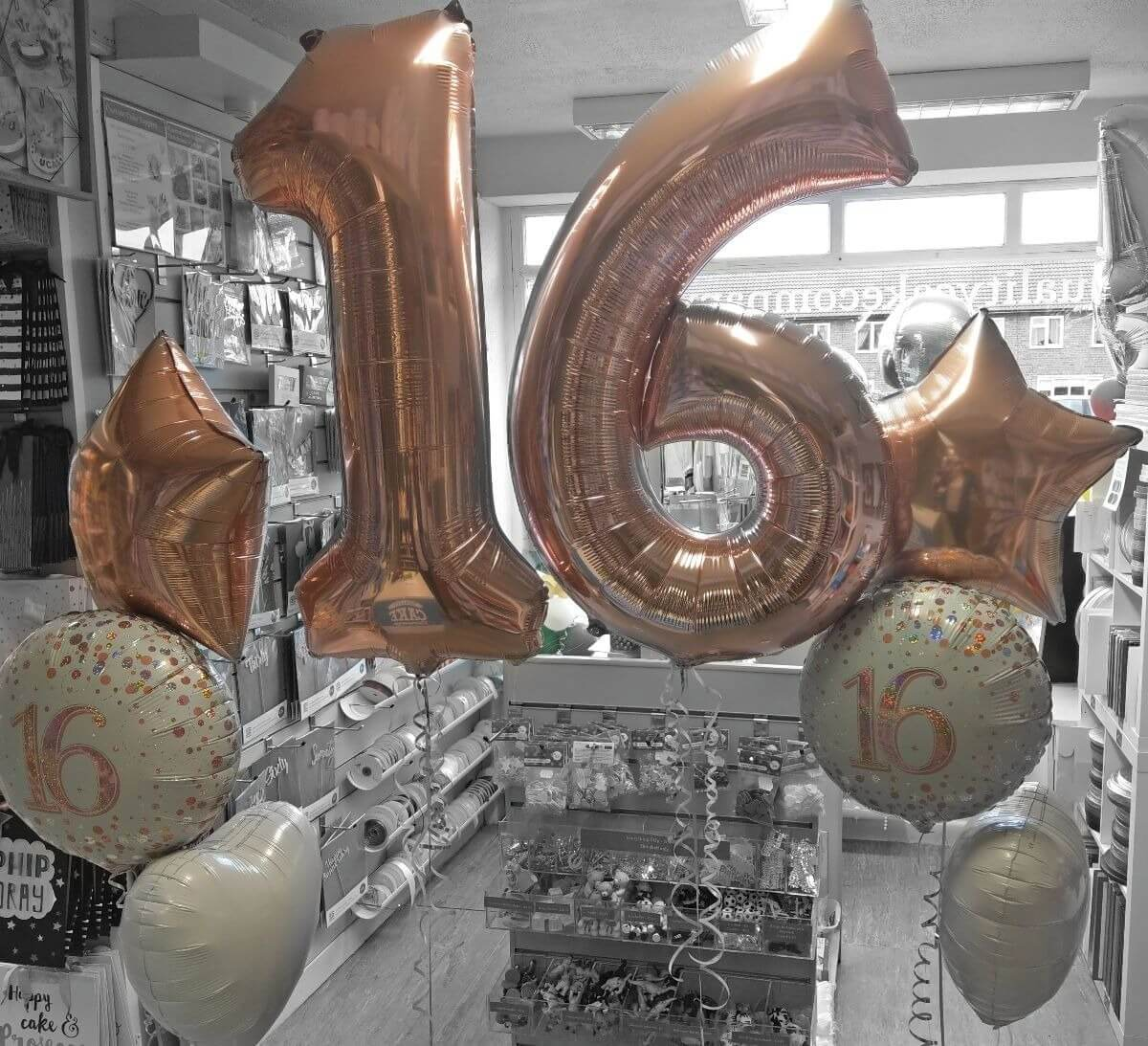 16th birthday giant number balloons in rose gold - tamworth