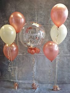 Rose gold theme 80th birthday balloons personalised bubble - tamworth