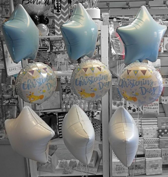 bunch of 3 christening day foil balloons - tamworth