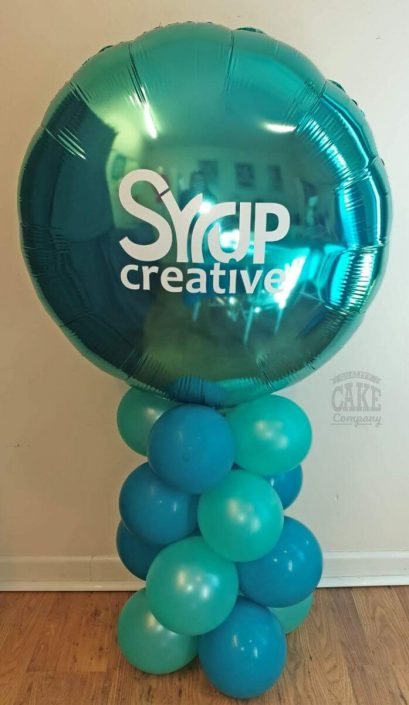 Corporate branded logo balloon column in teal - Tamworth West Midlands