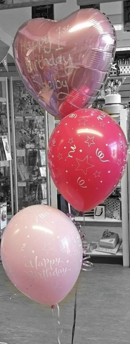 Personalised balloon spray 1st birthday - Tamworth