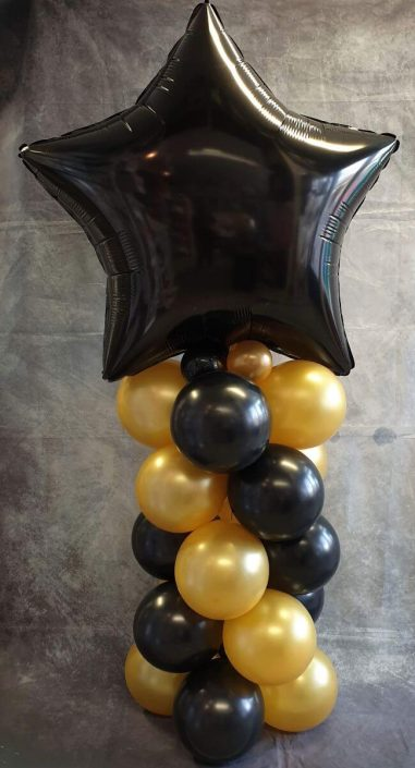 Giant black star balloon column - Tamworth