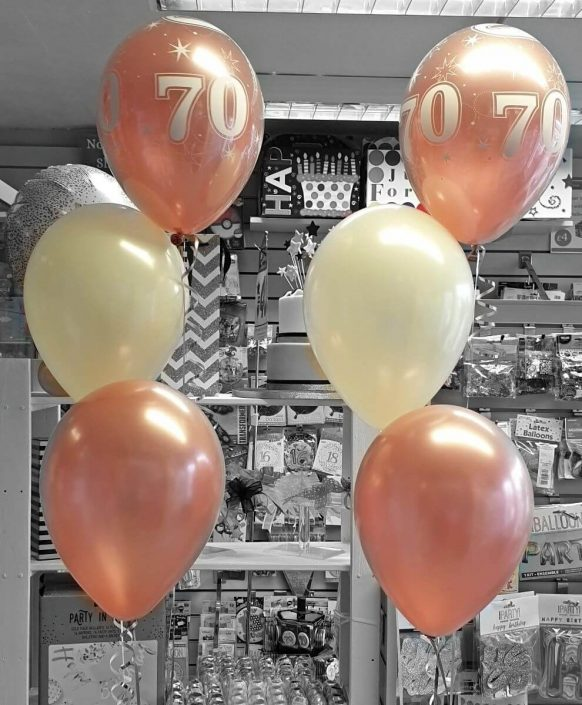 rose gold latex balloon bunches for 70th birthday - Tamworth