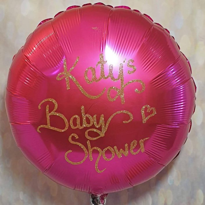 Pink helium balloon personalised in gold glitter for a baby shower - tamworth