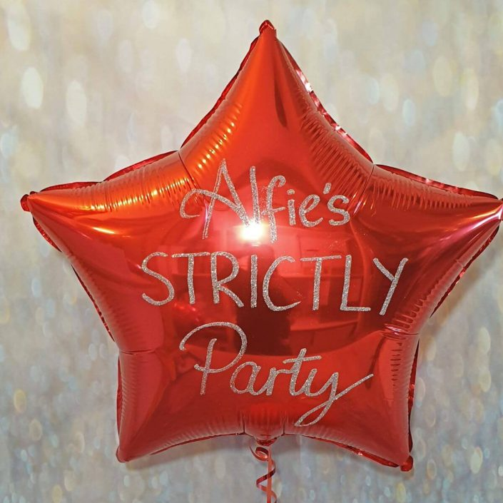 Personalised red star balloon in glitter - Tamworth