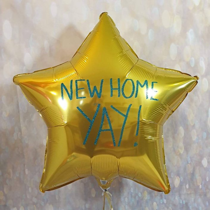 Personalised in blue glitter for a new home gold foil balloon - tamworth