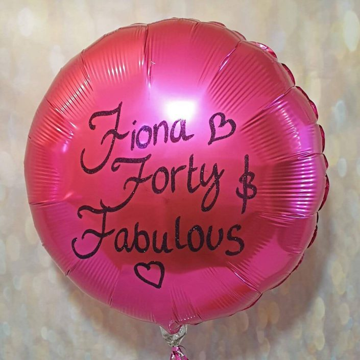 pink balloon personalised with black glitter for a 40th birthday - tamworth
