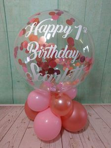 personalised balloon - bubble table air filled with pink and rose gold confetti - tamworth