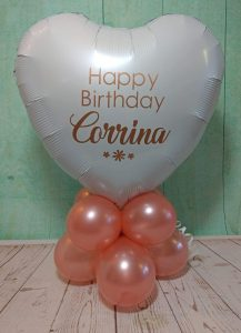 rose gold personalised table decoration balloons - tamworth