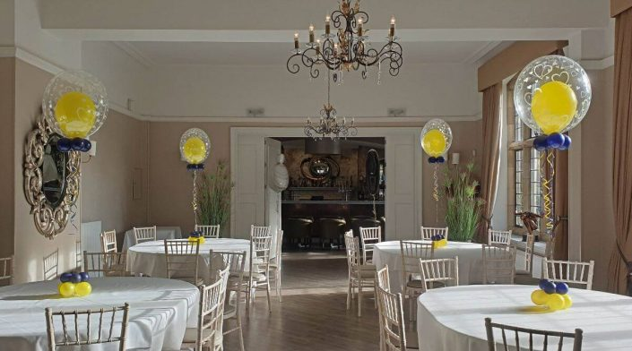 Balloon in a balloon navy and yellow wedding table decoration - tamworth