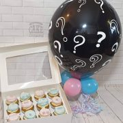Gender reveal balloon and cupcakes - Tamworth