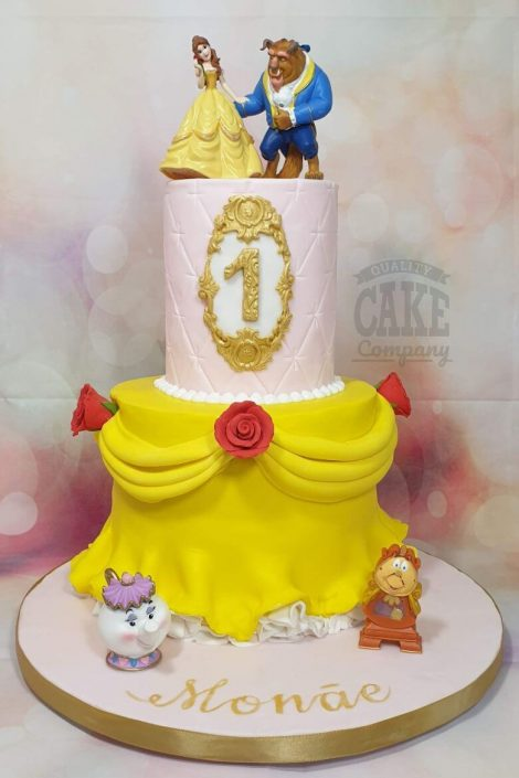 two tier beauty and the beast theme birthday cake - tamworth