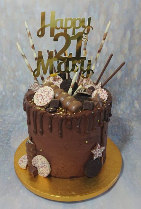 mega chocolate drip cake with personalised cake topper - tamworth