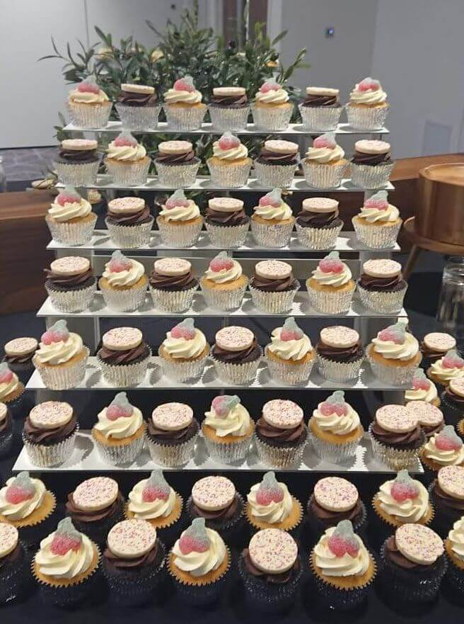 corporate cupcakes on a display stand for events and parties - tamworth west midlands