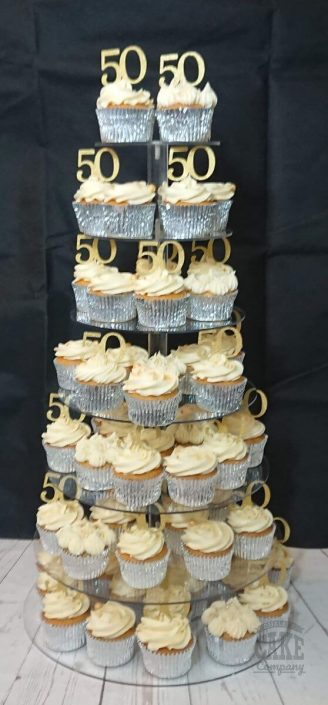 50th anniversary or birthday cupcakes display tower - tamworth