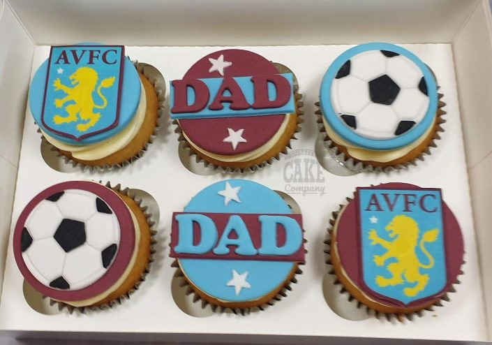 Aston villa theme cupcakes - tamworth