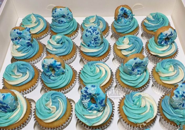 blue swirl cupcakes with matching doughnuts - tamworth