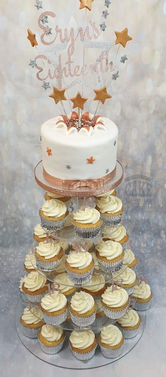 rose gold cake and cupcake tower display - tamworth