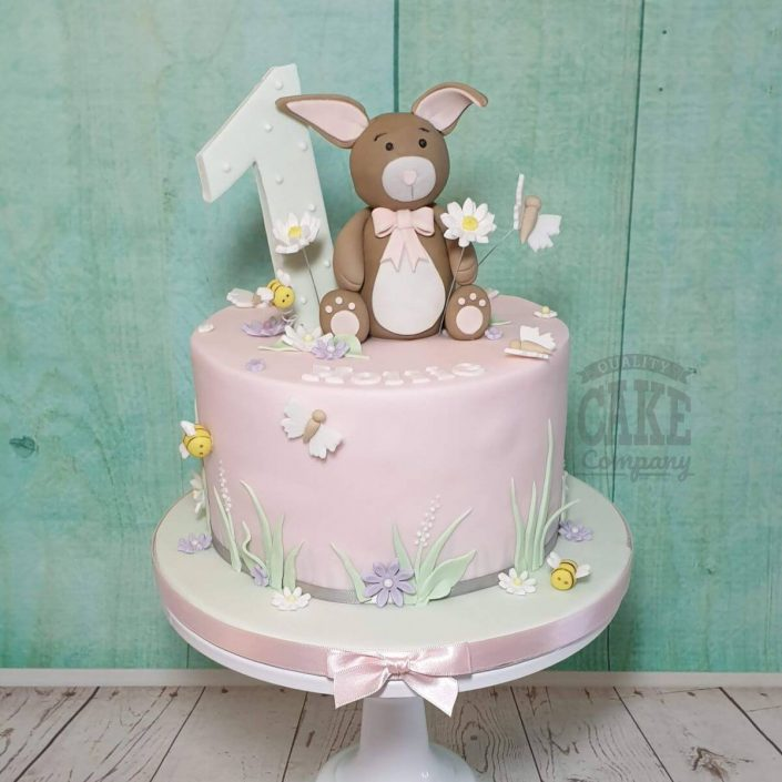 cute brown bunny rabbit 1st birthday cake - tamworth