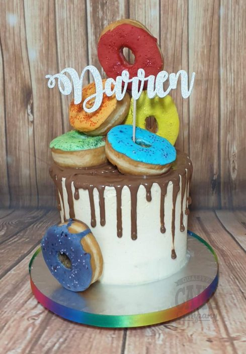 dougnut rainbow coloured drip cake - tamworth