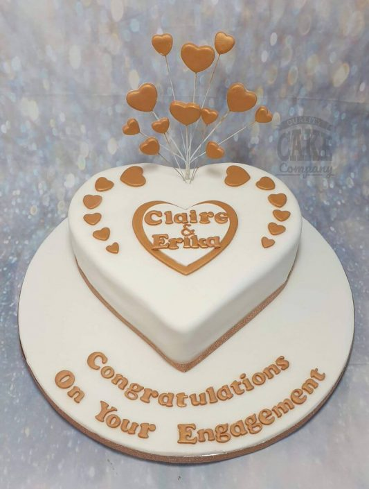 rose gold heart shaped engagement cake - tamworth