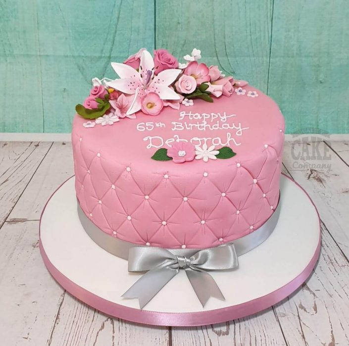 pink quilted floral cake for 65th birthday tamworth