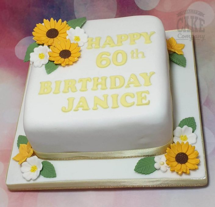 sunflower theme 60th birthday cake - tamworth
