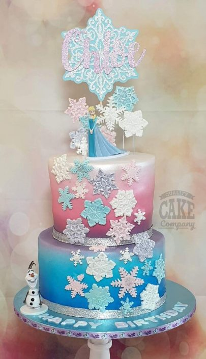 Two tier ombre Frozen theme birthday cake with snowflakes - tamworth