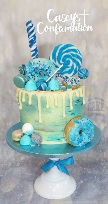 blue drip cake with doughnuts tamworth