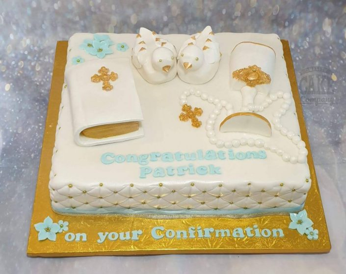 Confirmation cake with bible, doves - tamworth